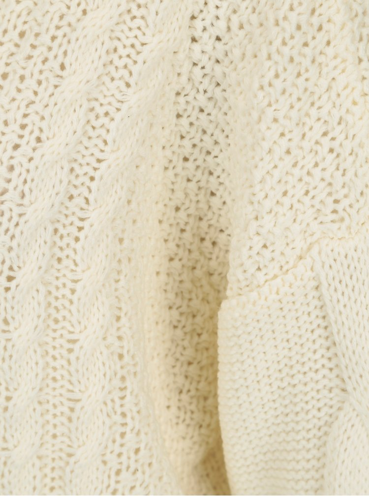 Pulover tricotat crem cu torsade - VERO MODA Wale