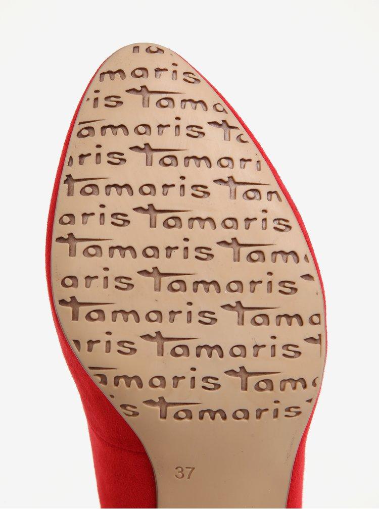 Červené lodičky v semišové úpravě Tamaris