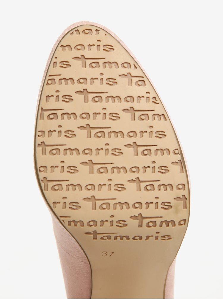 Růžové lodičky v semišové úpravě Tamaris