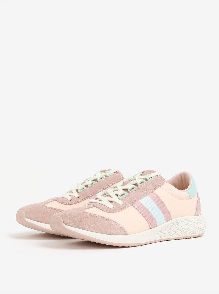 Světle růžové tenisky se semišovými detaily Tamaris