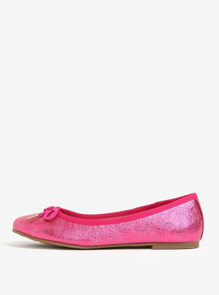 Růžové lesklé baleríny s mašličkou Tamaris