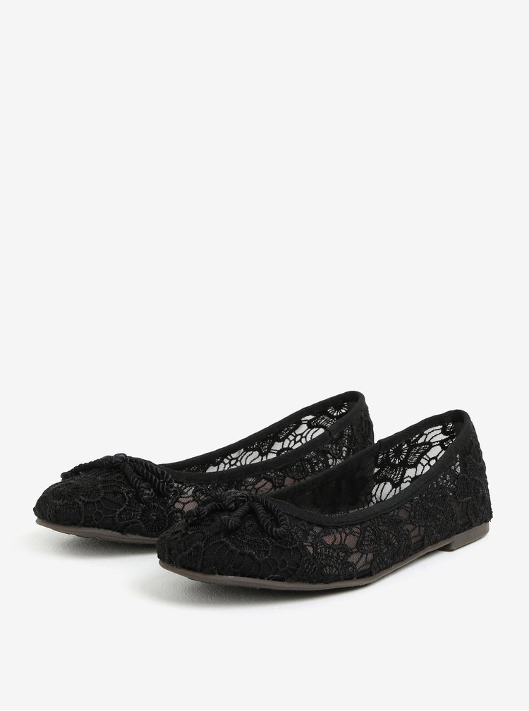 Černé krajkové baleríny Tamaris