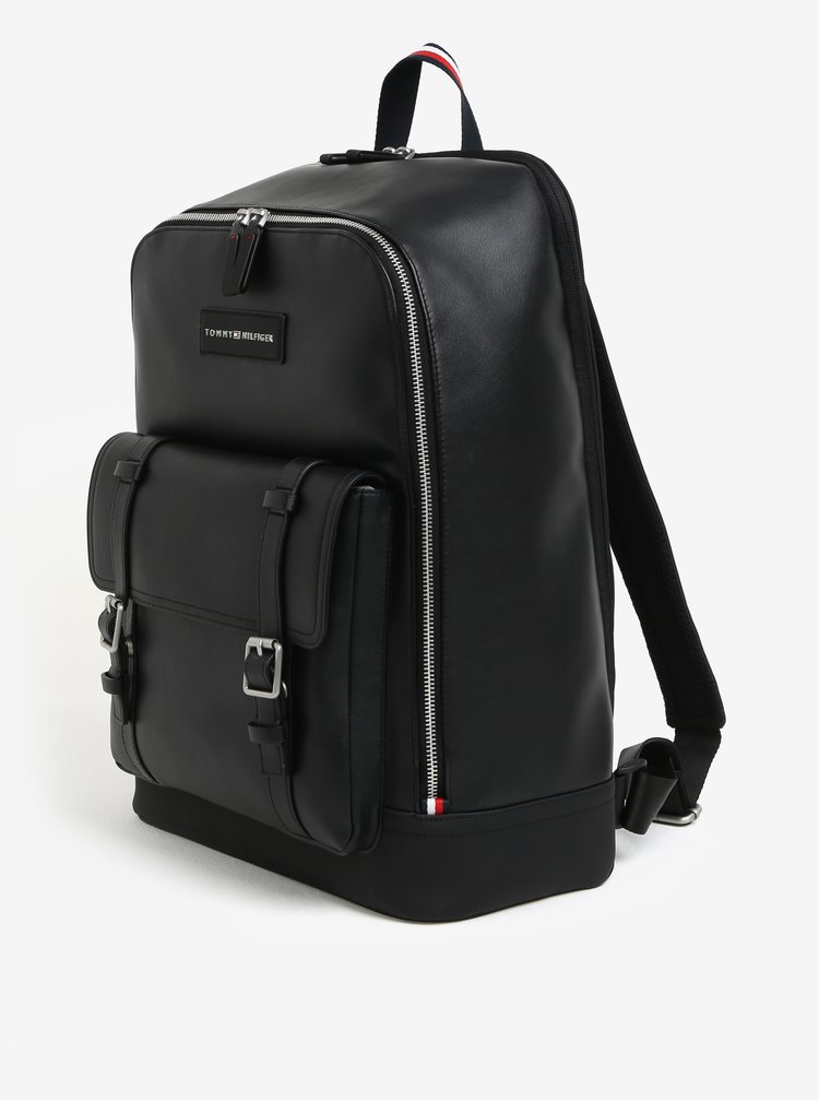 Černý pánský batoh s přezkami Tommy Hilfiger The City