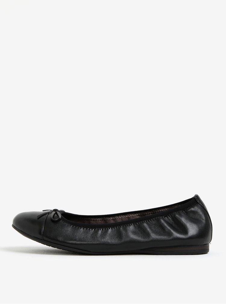 Černé kožené baleríny Tamaris