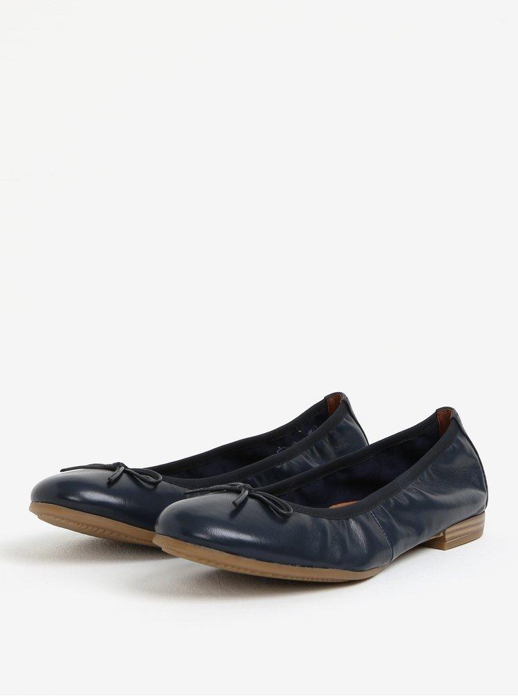 Tmavě modré kožené baleríny Tamaris
