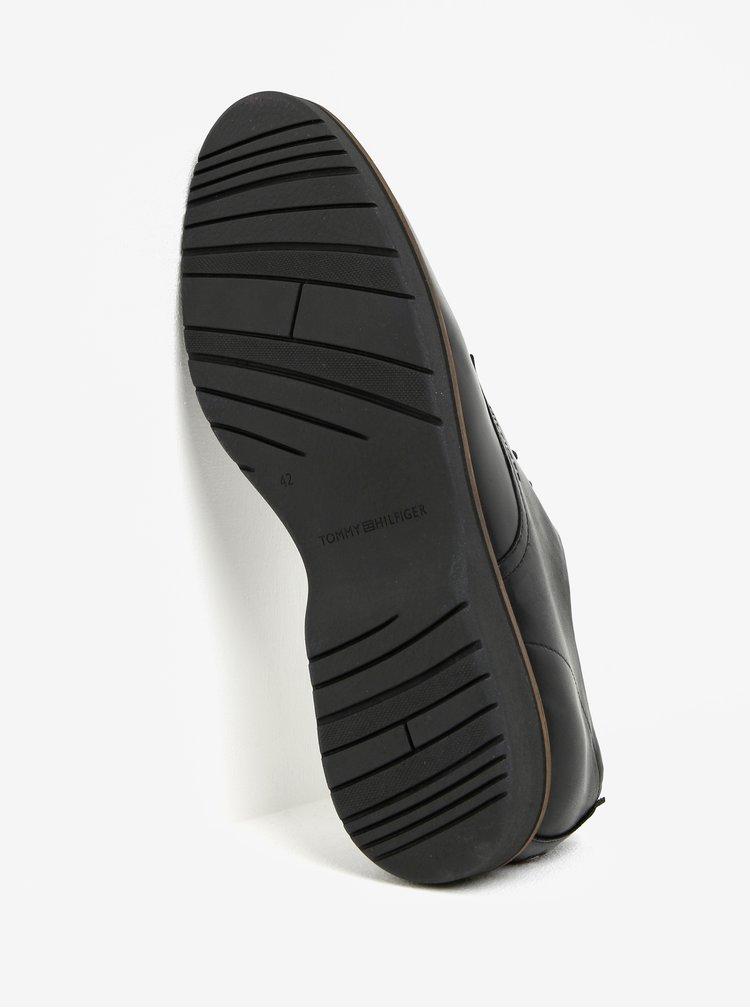 Černé pánské kožené polobotky Tommy Hilfiger