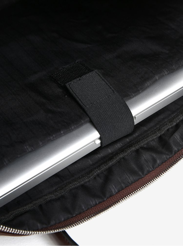 Tmavě hnědá pánská koženková taška Bobby Black
