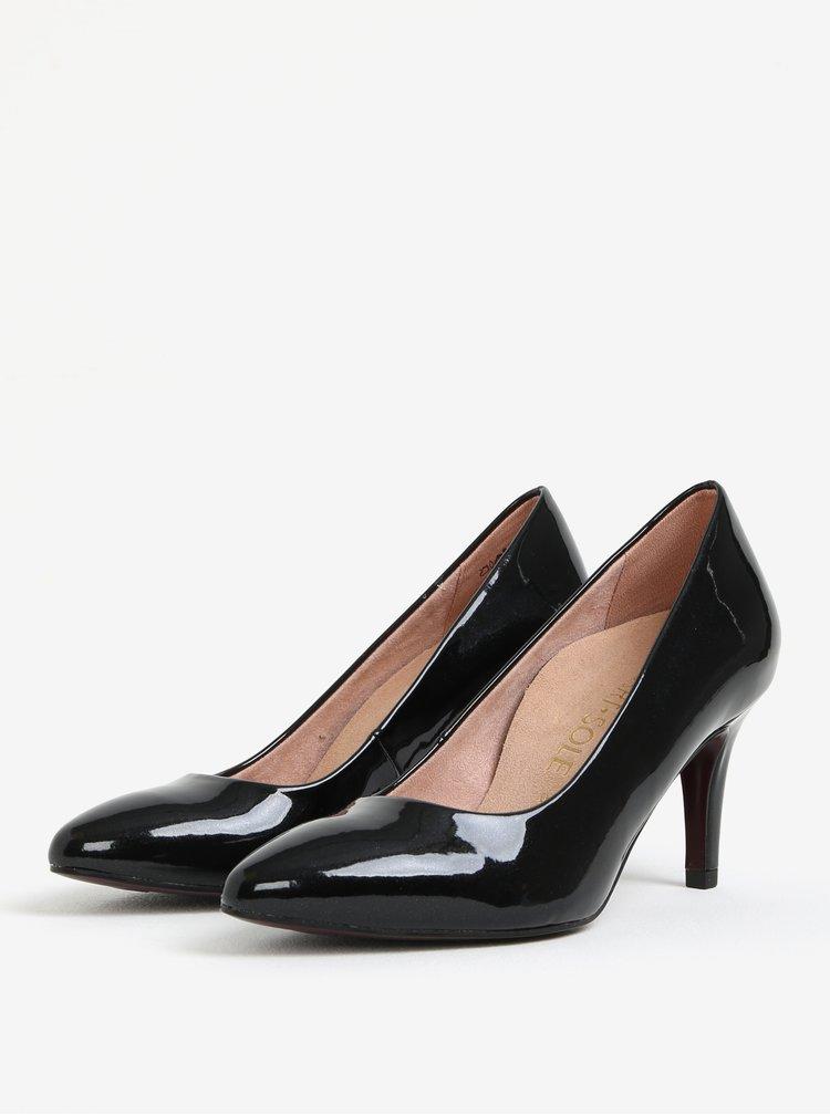 Pantofi negri cu toc inalt si aspect lacuit - Tamaris