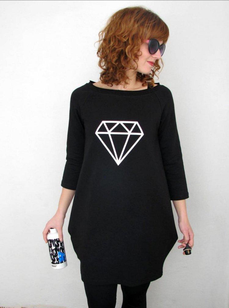 Černé šaty s potiskem diamantu Mikela da Luka