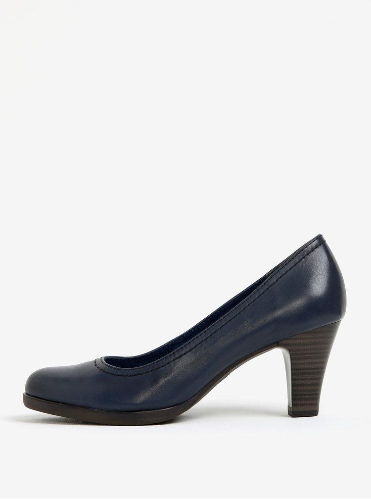 Pantofi bleumarin din piele naturala cu toc - Tamaris