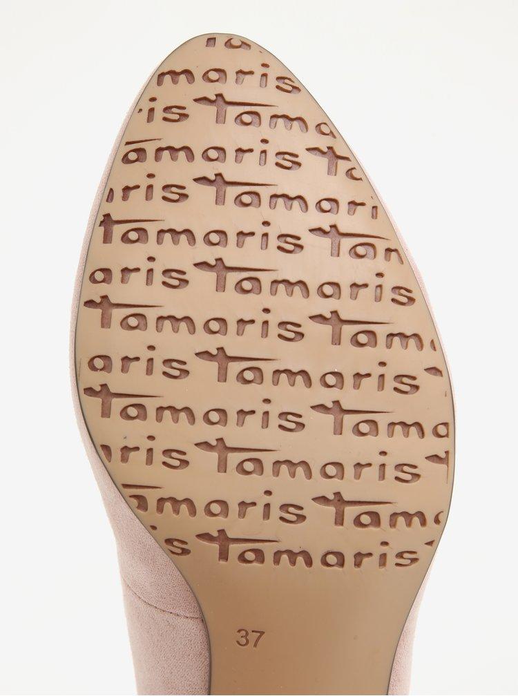 Světle růžové lodičky v semišové úpravě Tamaris