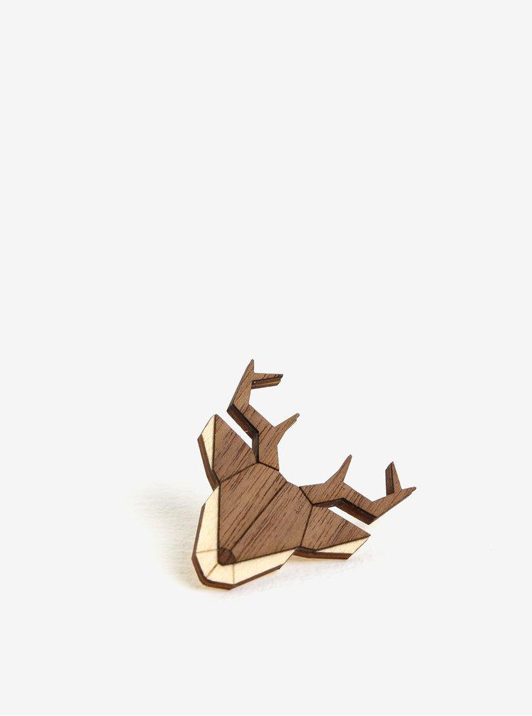 Brosa din lemn in forma de cerb - BeWooden Deer Brooch