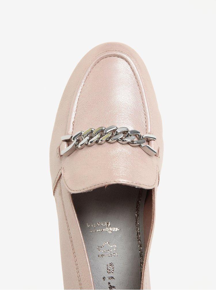 Mocasini roz metalic din piele - Tamaris