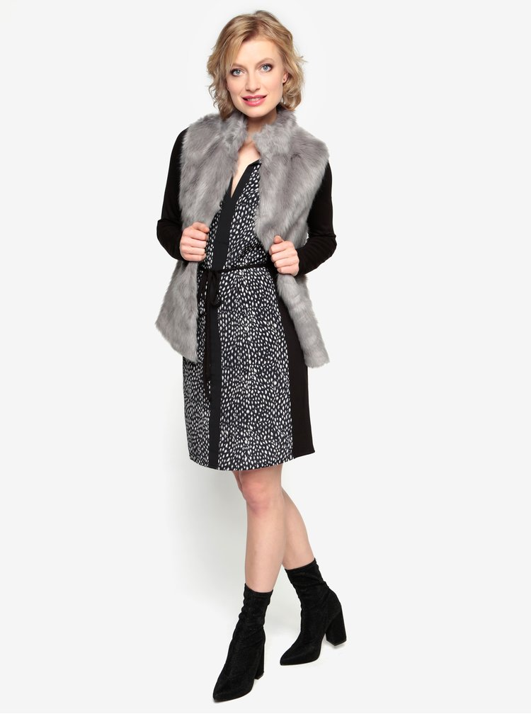 Krémovo-černé vzorované šaty s dlouhým rukávem Oasis Animal