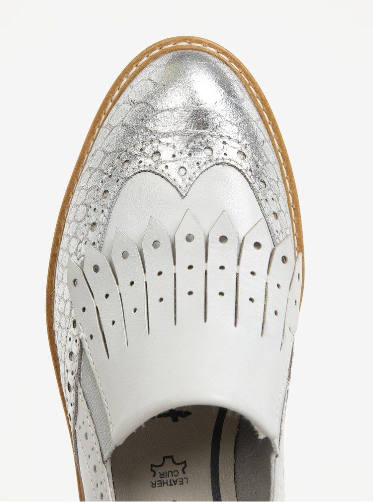 Kožené mokasíny v krémovo-stříbrné barvě Tamaris