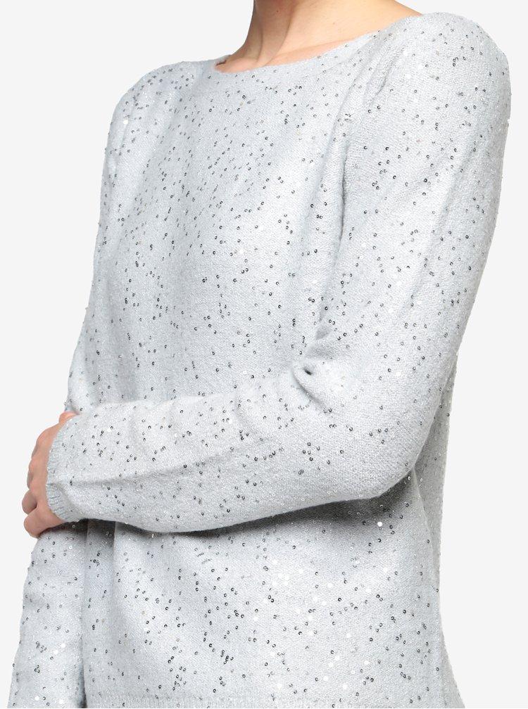 Pulover gri cu paiete si bluza cusuta Oasis Sequin