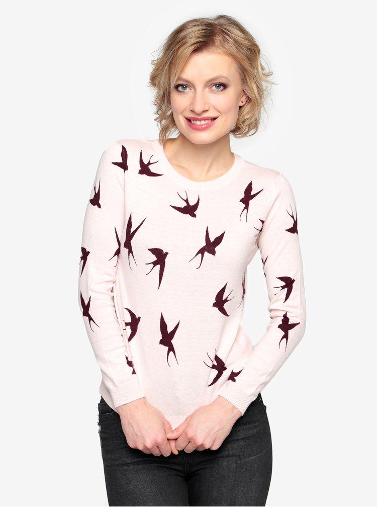 Světle růžový lehký svetr s mašlí za krkem Oasis Shadow