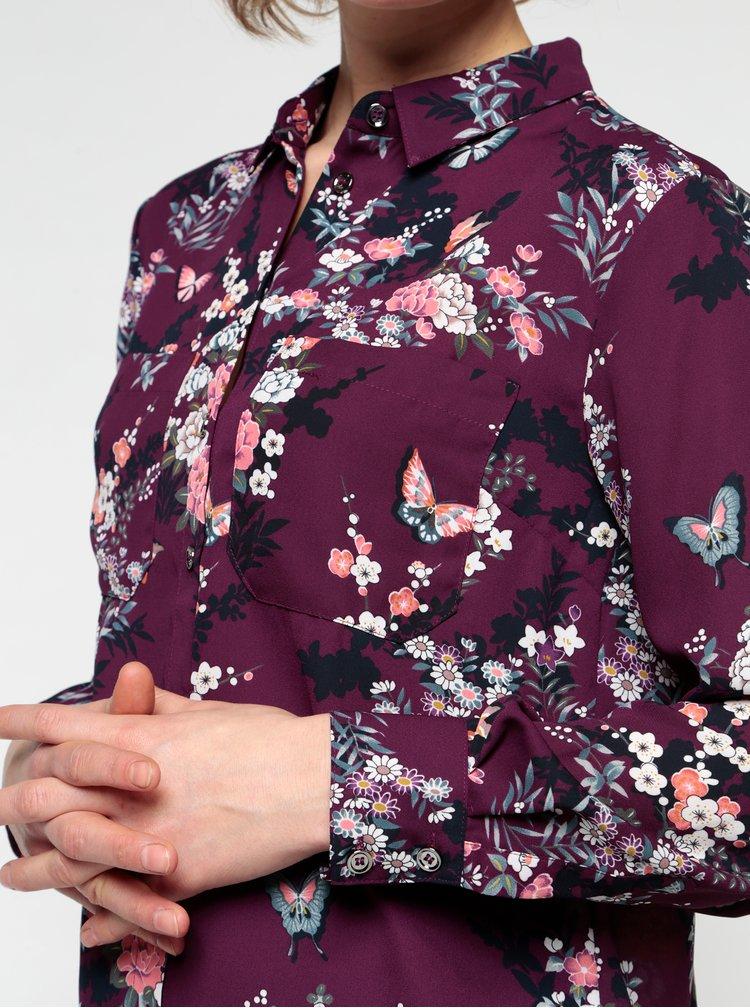 Tmavofialová kvetovaná blúzka Oasis Kimono