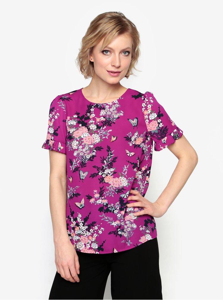 Fialová kvetovaná blúzka Oasis Kimono