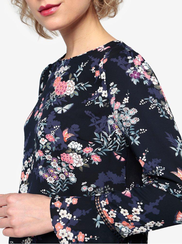 Tmavě modrá květovaná halenka Oasis Kimono