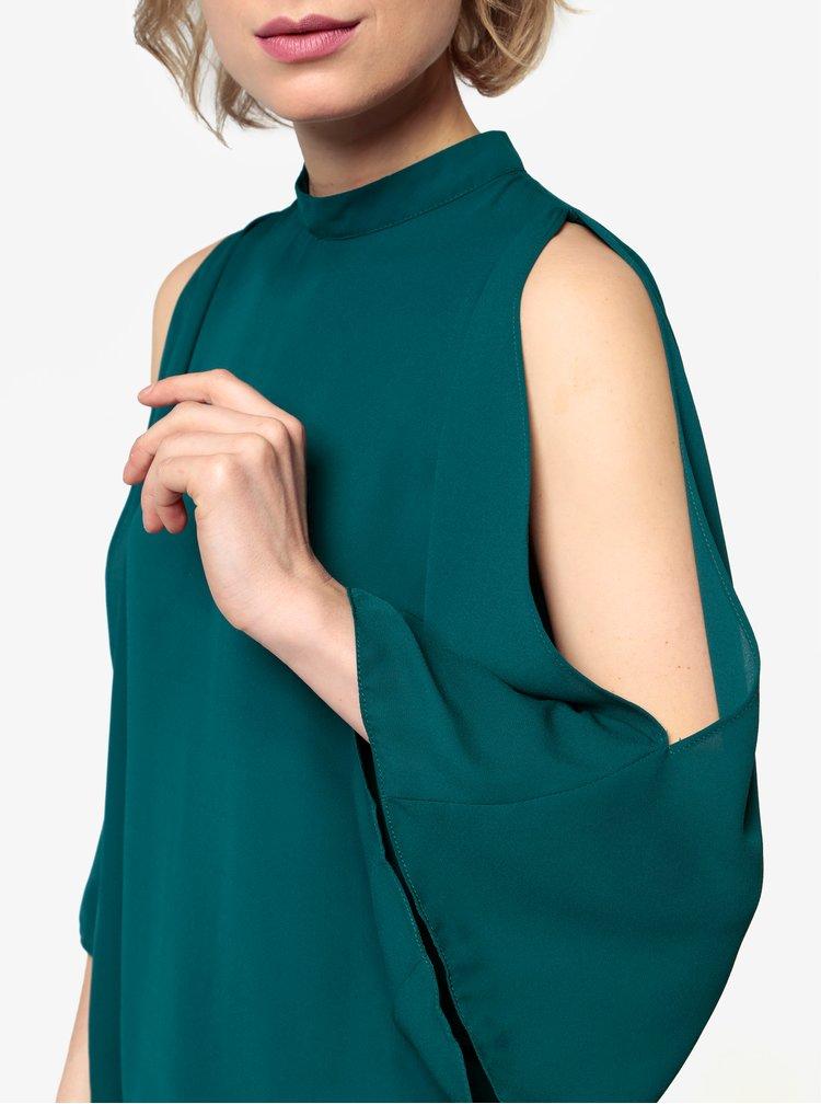 Tmavě zelená halenka s průstřihy na ramenou Oasis