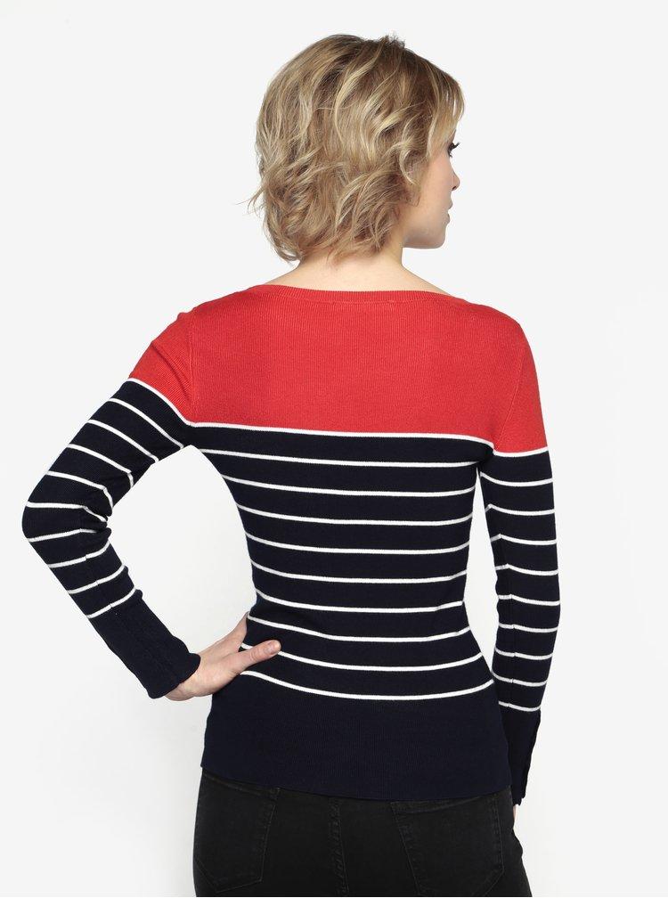 Červeno-modrý pruhovaný lehký svetr Oasis Split