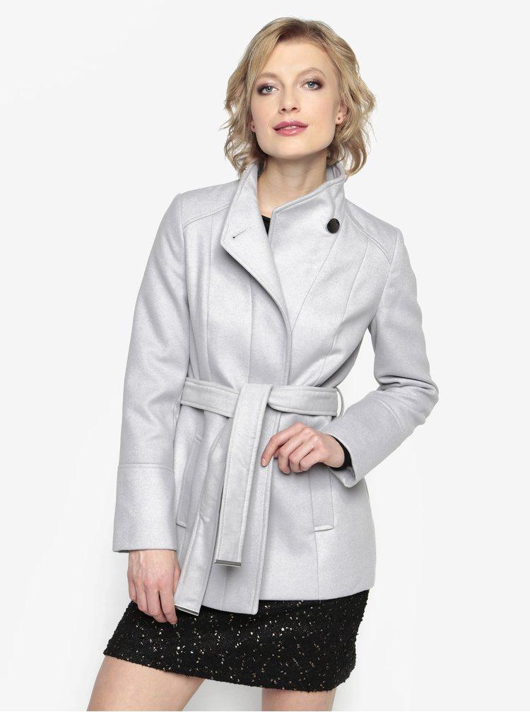 Šedý krátký kabát s páskem Oasis Leah
