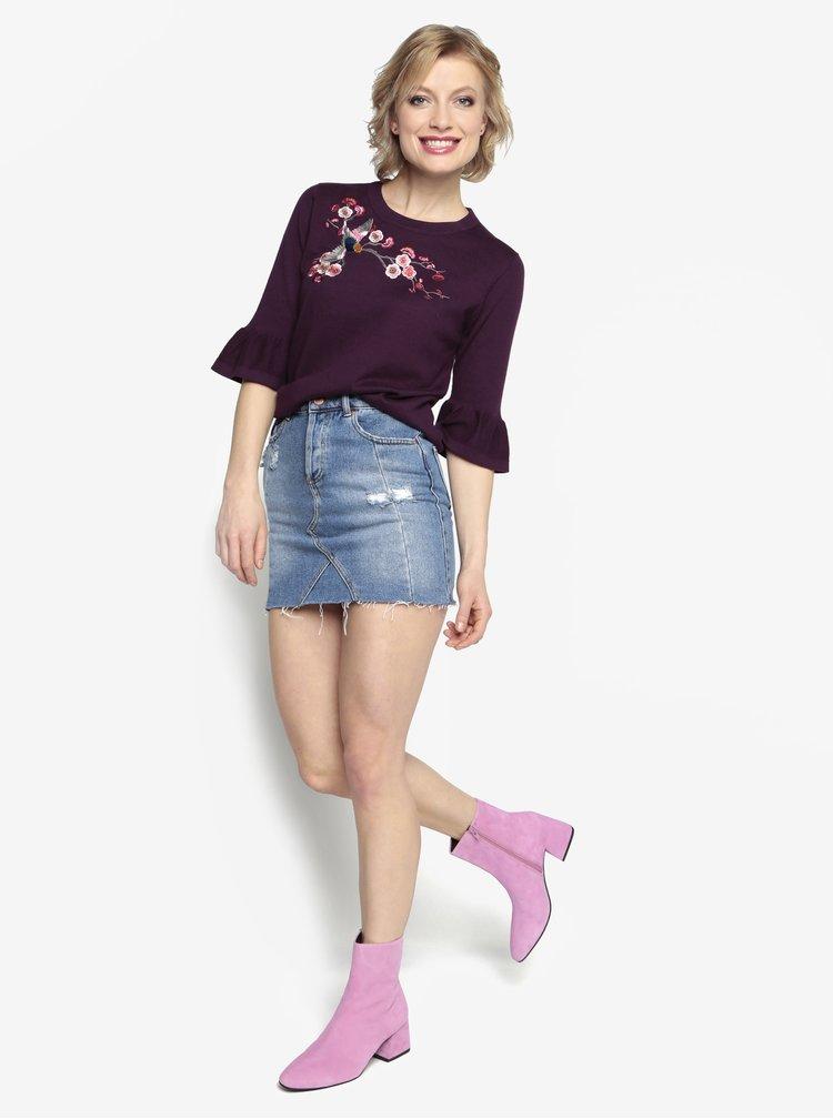Fialový lehký svetr s výšivkou Oasis Akira