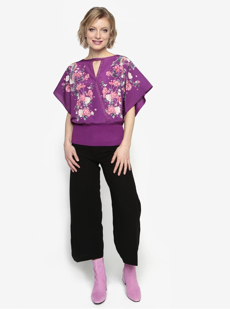 Bluza mov inchis cu maneci fluture si print floral - Oasis Kimono