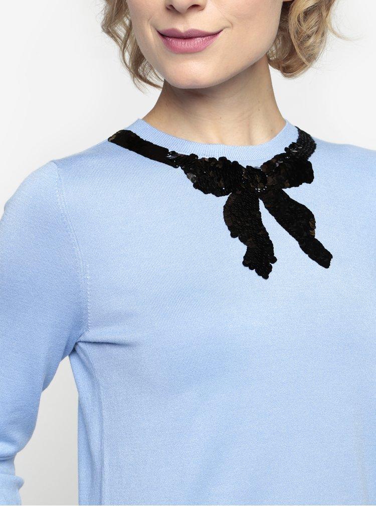Modrý lehký svetr s mašlí z flitrů Oasis Jackie