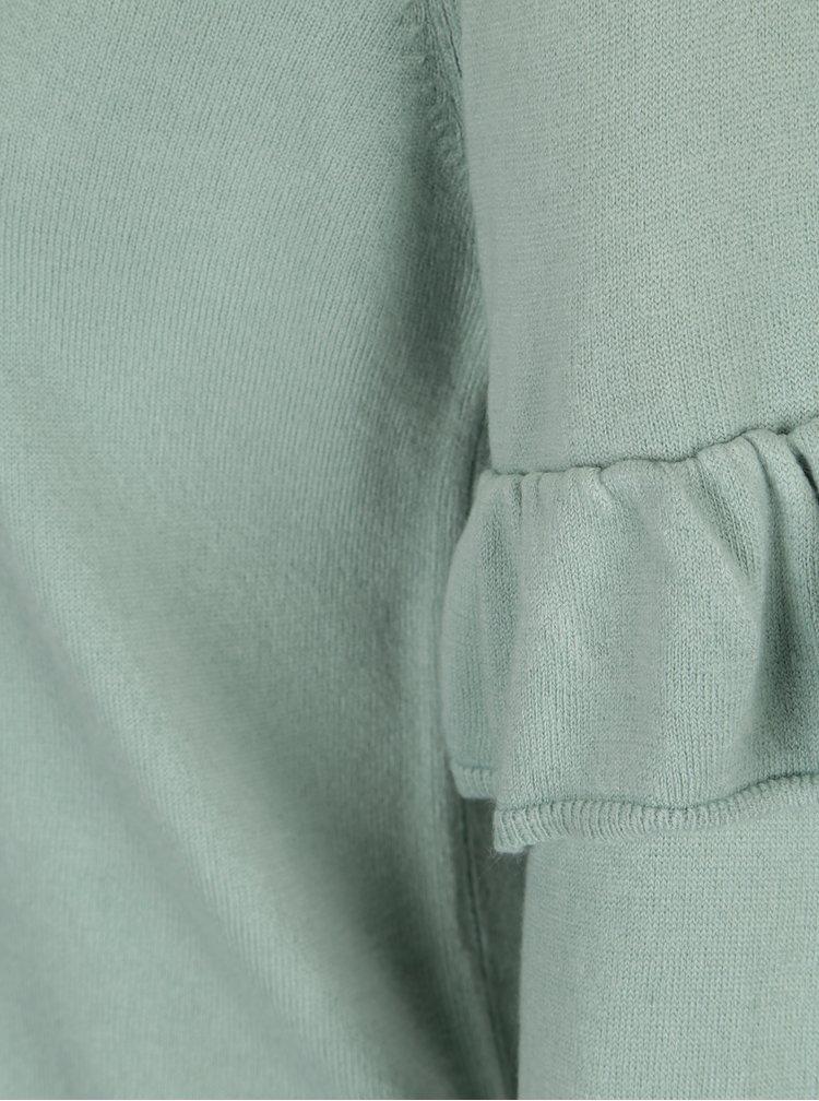 Mentolový svetr s volány na rukávech Jacqueline de Yong Stardust