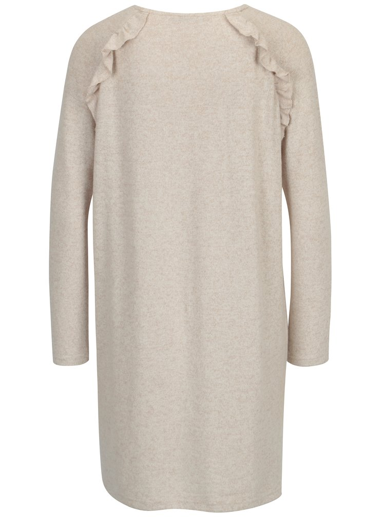 Rochie pulover bej cu maneci raglan si volane - ONLY New Maye