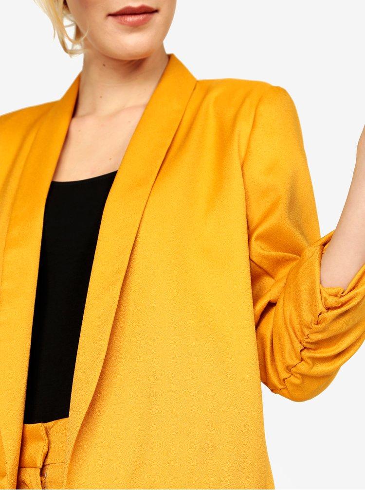 Hořčicové kostýmové sako s 3/4 rukávem MISSGUIDED
