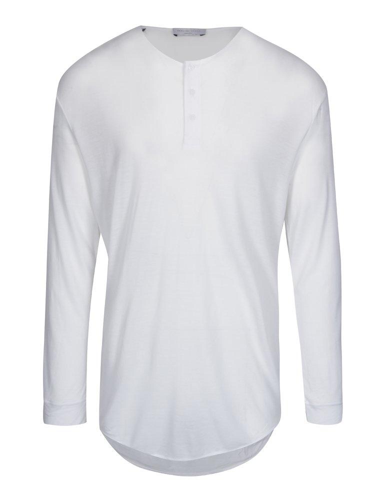 Bílé oversize tričko s dlouhým rukávem Selected Homme Splint