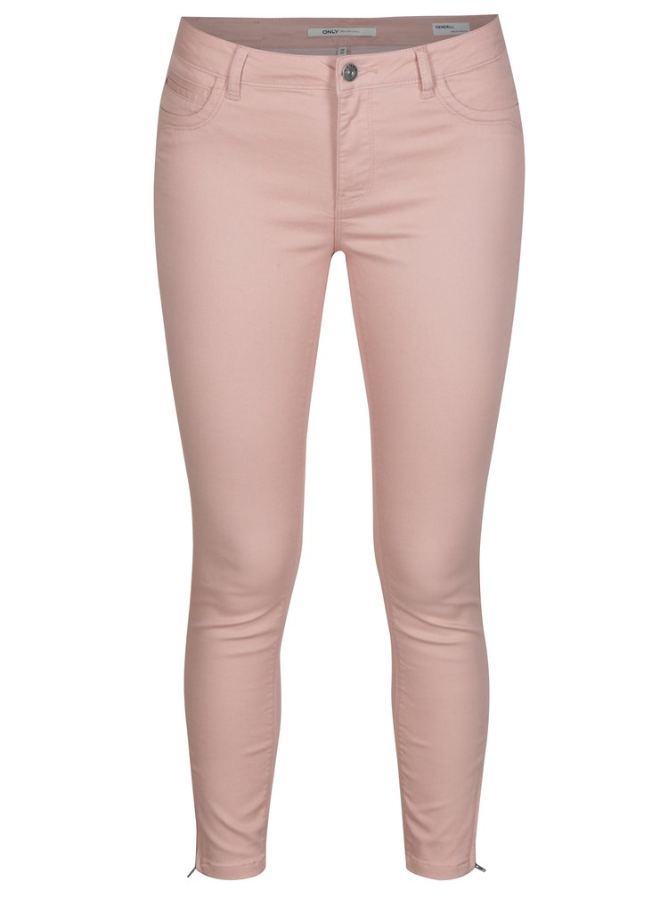 Světle růžové regular skinny džíny ONLY Kendell
