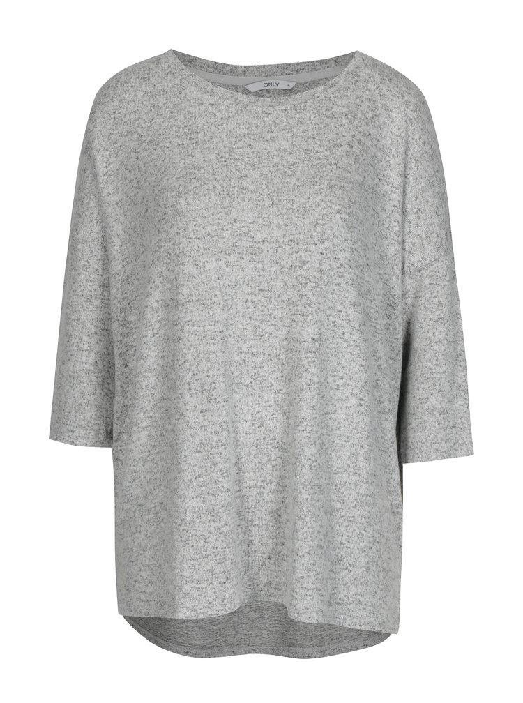 Šedý žíhaný volný svetr s 3/4 rukávem ONLY New Maye