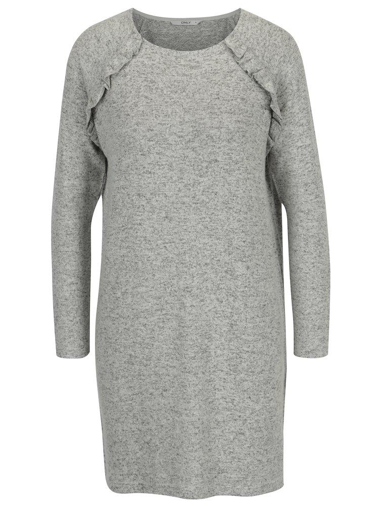 Rochie pulover gri cu maneci raglan si volane - ONLY New Maye