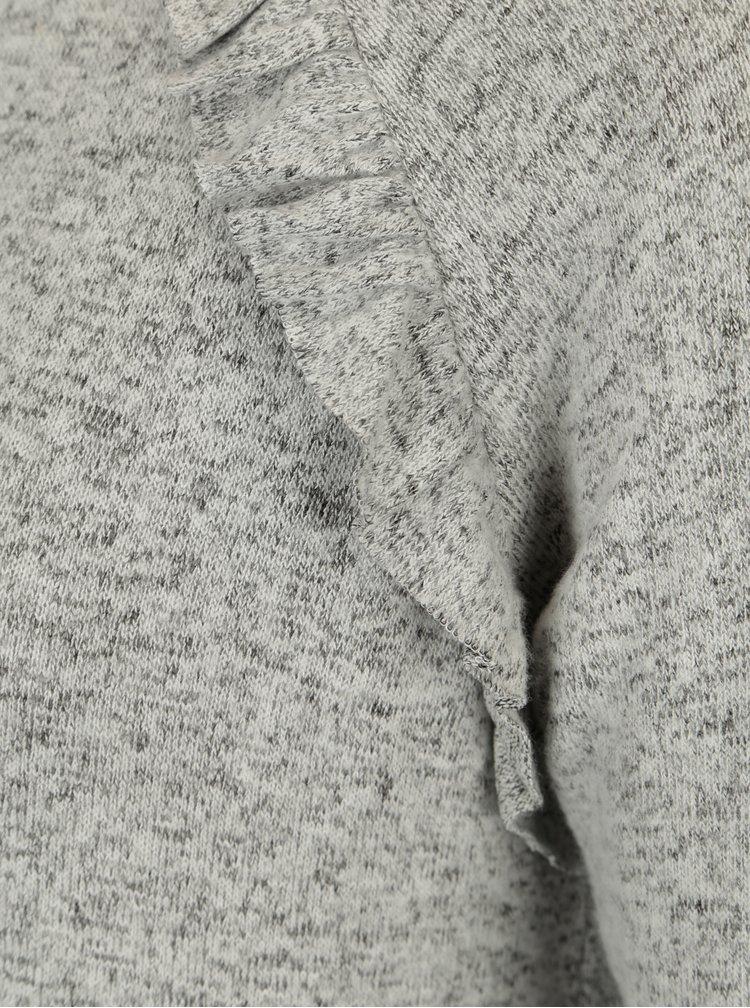Světle šedé žíhané svetrové šaty s volány ONLY New Maye