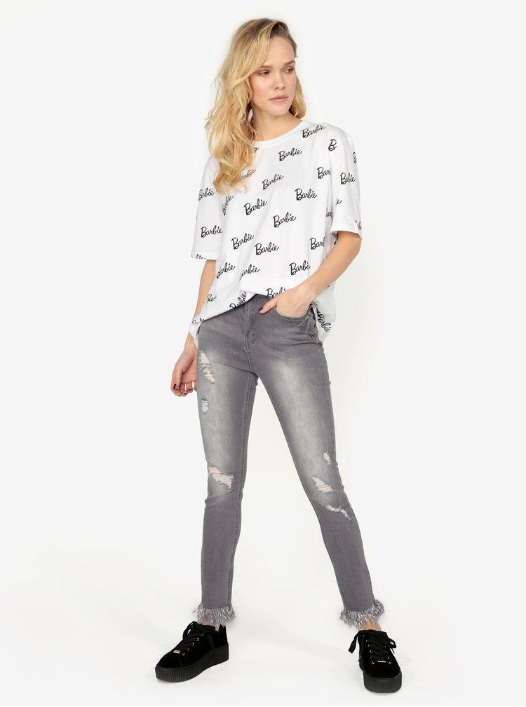 Bílé oversize tričko s potiskem MISSGUIDED