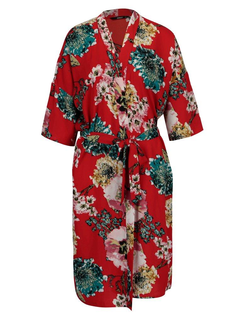 Červené květované kimono ONLY Katehrine