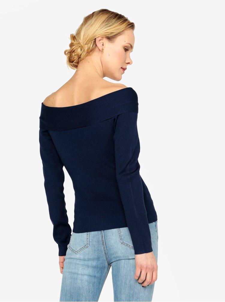 Tmavomodrý tenký sveter s odhalenými ramenami MISSGUIDED