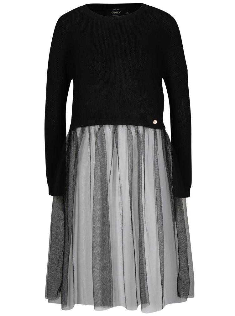 Černý crop svetr s všitou tylovou částí ONLY Bianka