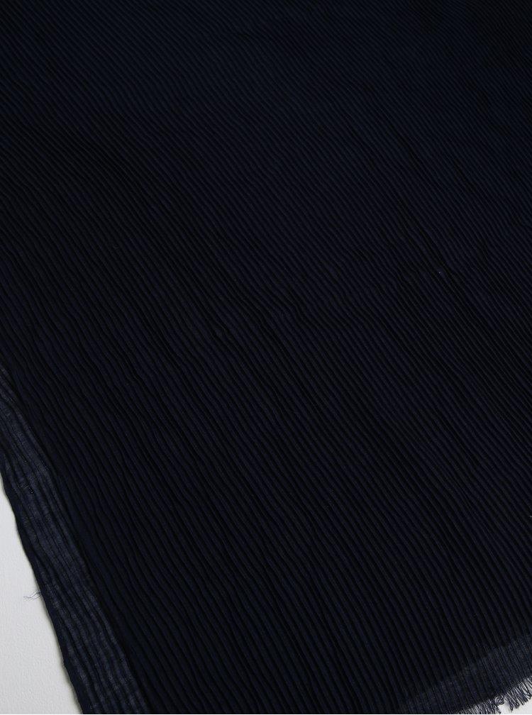 Tmavě modrý žebrovaný šátek Pieces Nabia