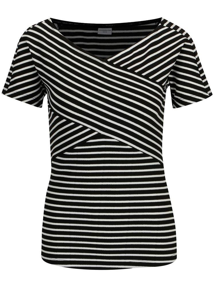 Bílo-černý pruhovaný top Jacqueline de Yong Akili