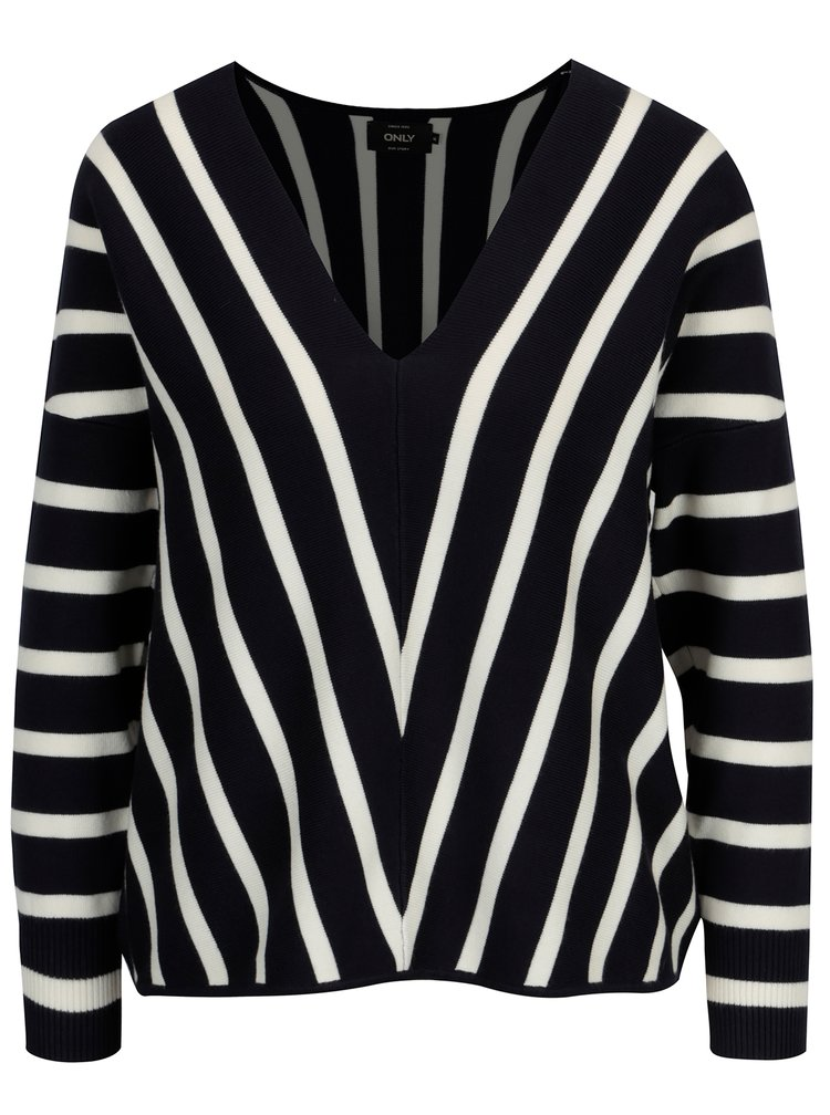 Tmavě modrý pruhovaný svetr s véčkovým výstřihem ONLY Aya