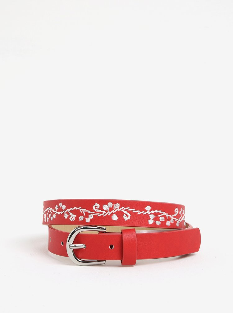 Červený pásek výšivkou Pieces Jessica