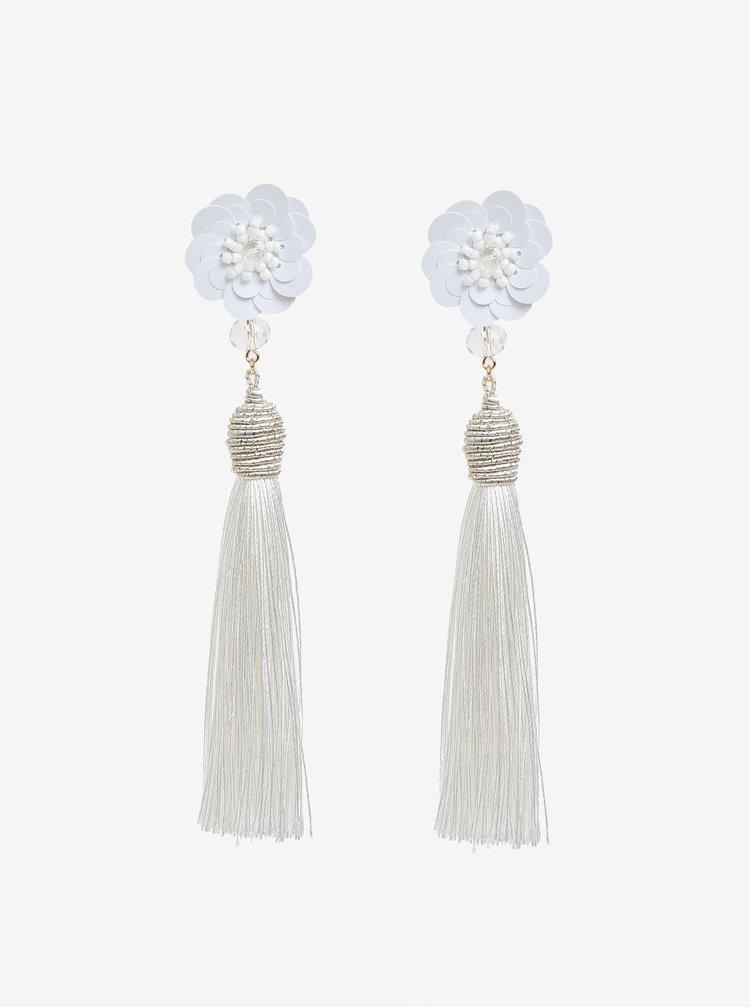 Bílé náušnice s květovaným motivem a třásněmi Pieces Joanna
