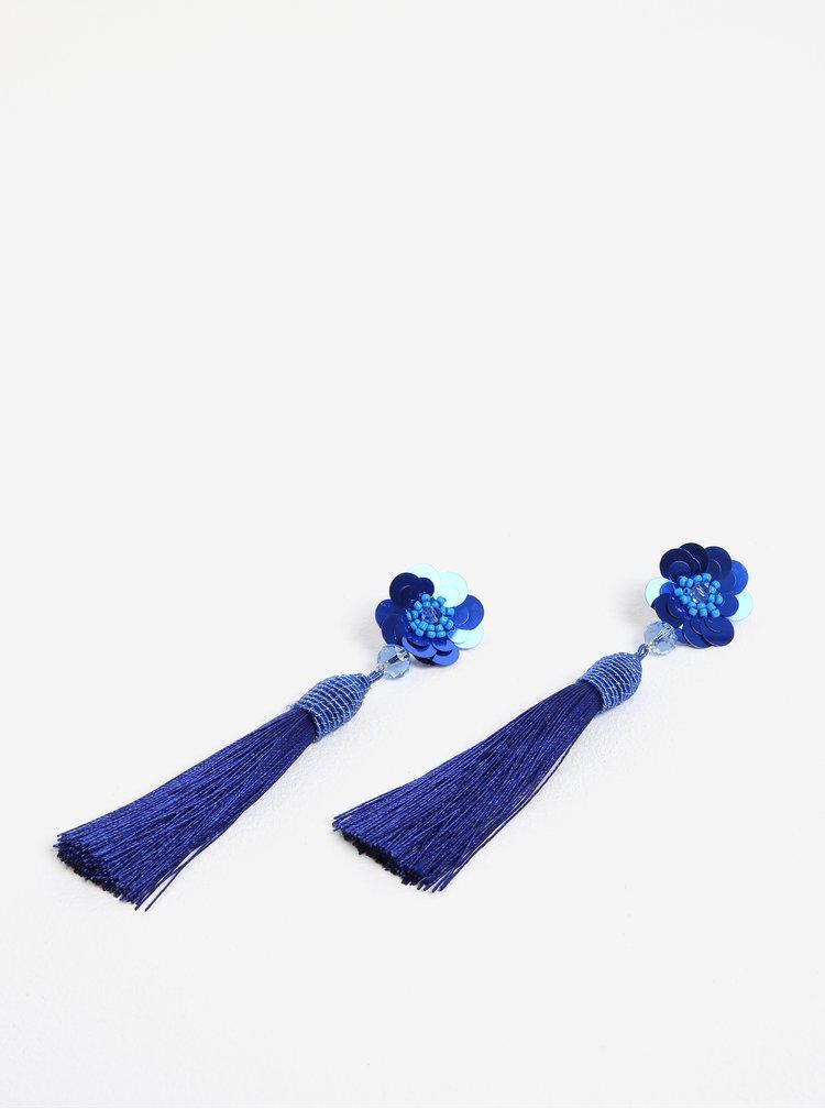 Modré náušnice s květovaným motivem a třásněmi Pieces Joanna
