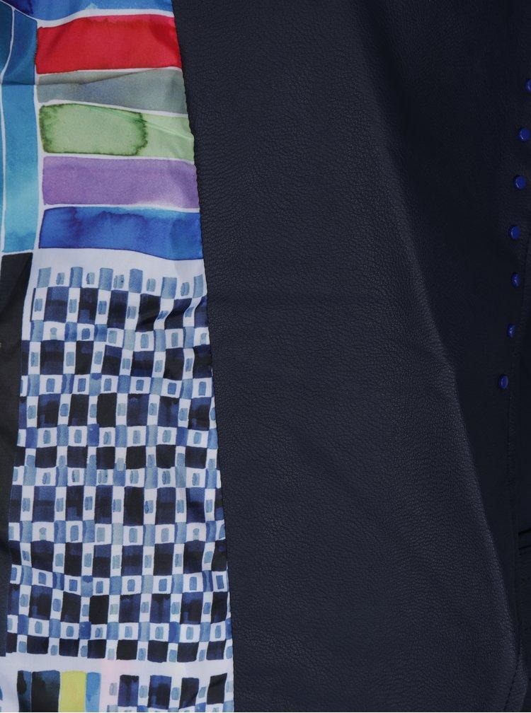 Tmavě modrý koženkový křivák Desigual Annick