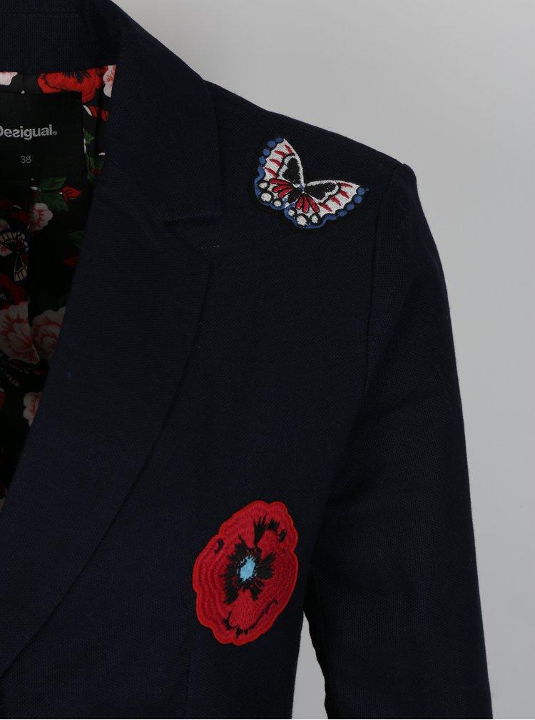 Tmavě modré sako s nášivkami Desigual Megane